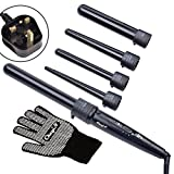 CkeyiN® Curling Iron 5 Interchangeable Barrels Non-stick Coated Surface 360 Swivel Cord Hair Curlers Waves Curling Wand Set with Heat Glove