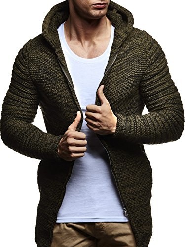 LEIF NELSON Herren Pullover Strickjacke Hoodie Kapuzenpullover Jacke Sweatjacke Sweatshirt Longsleeve LN20741; Größe M, Khaki