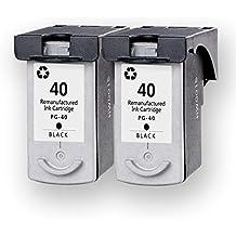 2 DOREE cartuchos de tinta para Canon Pixma MP150 / 160 / 170 / 180 / 450 / 460 / IP1180 / 1200 / 1300 / 1600 / 1700 / 1800 / 1880 / 2200 / 2500 / 2580 / 6000D / 6210D / 6220D / 6310D - 2Negro