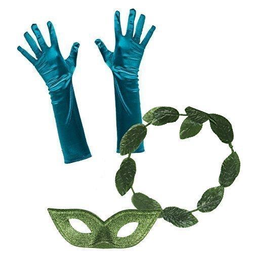 Damen Damen Poisen Ivy Kostüm Set 1 (Blatt Stirnband, Handschuhe, Augen Maske) (Poisen Ivy Kostüme)