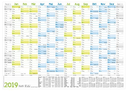 Wandkalender 2019 DIN A2 (59x42cm) gefalzt, Wandplaner 14 Monate Dez 18 - Jan 20, FSC-Papier, inkl. A4-Kalender