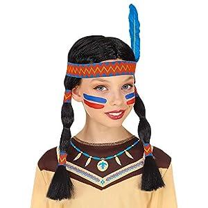 WIDMANN Srl peluca Indiana con cinta para cabeza y pluma de niña, Multicolor, wdm46933