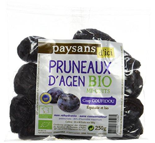 Ethiquable Pruneaux d'Agen Mi-Cuits Bio 250 g Paysans d'Ici - Lot de 5