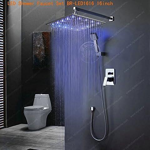 Mode Regendusche Set 8-10-12-16-Zoll Single handle Faucet In-Wall Badewanne und Dusche Mixer Messing Chrom BR-LED, (Brunnen Belüfter)