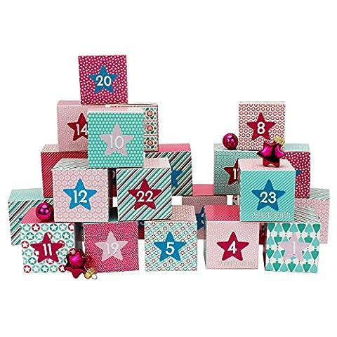 DIY Adventskalender Kisten Set - Motiv Rosa - 24 bunte Schachteln zum Aufstellen und zum Befüllen - 24 Boxen - von Papierdrachen