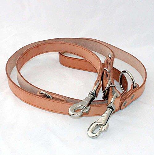 Kej Führleine Hundeleine Leder 25mm breit, 220cm lang, 3-fach verstellbar, Farbe Natur