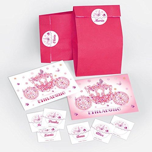 12-er Set Einladungskarten, Tüten, Umschläge, Aufkleber Kindergeburtstag Prinzessin-Party für Mädchen / Kutsche / rosa (12 Karten + 12 Umschläge + 12 Party-Tüten + 12 Aufkleber)