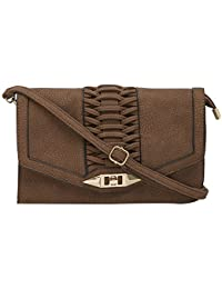 SATCHEL Brown Sling With Twisted Braid Flap