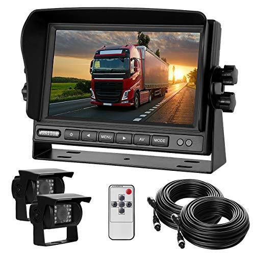 """Dual-Rückfahrkamera-Set mit 7\"""" TFT LCD Kfz-Monitor & Zwei 170° Weitwinkel- Rückfahrkameras, IP68 wasserdicht, 18IR Nachtsicht, für LKW/Anhänger/Bus/Van/Landwirtschaft(12-24 Volt)"""