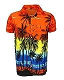 SAITARK - Camicia Hawaiana da Uomo, Motivo Estivo con di Palme - X-Large - Arancione