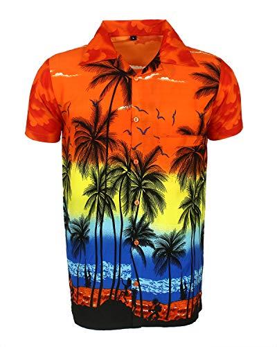 Saitark - camicia hawaiana da uomo, motivo estivo con di palme - medium - arancione