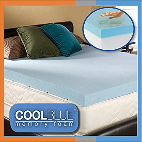 5ft King Size 4 inch Cool Blue Hybrid Memory Foam Orthopaedic Mattress Topper 10cm Thick