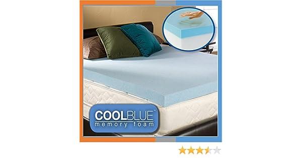 "5FT Kingsize Cool Blue Foam Mattress Topper 150cm x 200cm 2/"" Inch"