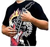 Blue BD T-shirt pour homme Motif guitare rock électronique Taille M