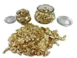 Glas Vase Set mit Goldflocken Füllung – Dekoration-Glas Tischdekoration für Alltag, Weihnachten, Hochzeit, Geburtstag – Luxuriöse Deko mit Blattgold Gold Flocken Flakes - 220ml oder 500ml Gefäß (220ml)