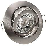1 x Einbaustrahler PAGO - Farbe: Edelstahl gebürstet - ideal für LED, SMD und Halogen - inkl. 230V-Fassung und 12V-Fassung- dimmbar, schwenkbar