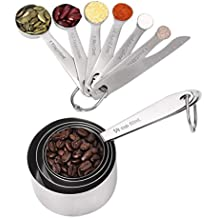 Measuring Cups & Measuring Spoons with Measuring Ruler Set of 11, Apicallife Stainless Steel Measuring Cups and Spoons for Dry and Liquid Ingredients, Silver