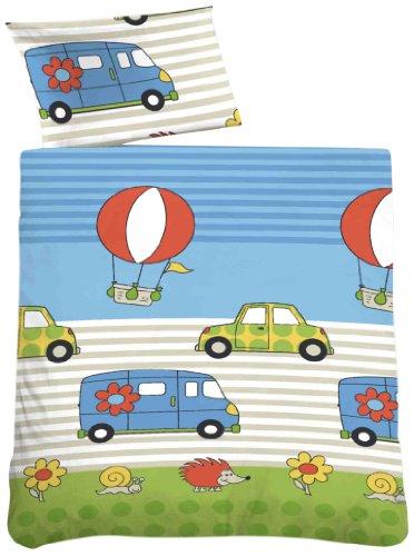 biberna 27211/221/014 Soft-Seersucker Bettwäsche Kinder und Jugend, nach Öko-Tex Standard 100, ca. 100 x 135 cm + 40 x 60 cm, Farbe: eis blau