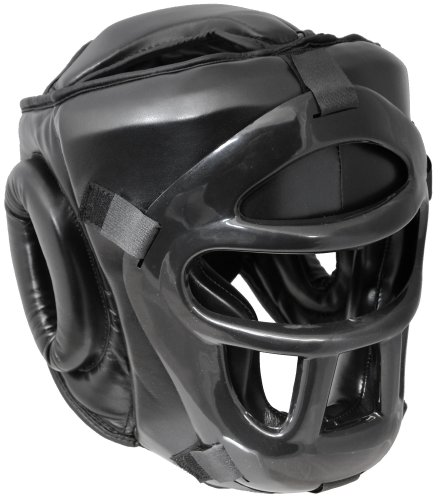 Pro PU Full Face Kopfschutz mit Maske Visier Gitter Thaiboxen