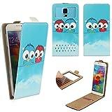Alcatel Pixi 4 (4034D) 4 Zoll - Smartphone Klappbare Flip Tasche / Schutzhülle mit Kreditkartenfach - Flip Eule 2 Nano XS