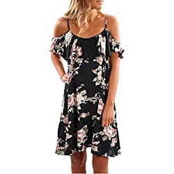 Siswong Vestido de verano de volantes florales Mujeres de hombro mini vestido Vestido de fiesta de playa (L, Negro)