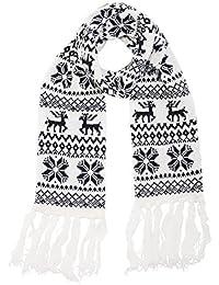 Echarpe femme hiver tricot maille épaisse cadeau noël femme motif flacon de neige renne