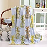 HAIXIA Blanket Simply Sketched Stamp Styled Minimal Background Pineapples Pattern Decorative Fabric for Upholstery and Home Accents Yellow Amber White