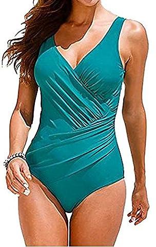Jusfitsu Damen Sexy Bikini Bademode Badeanzug Schwimmanzug Sport Tankini Push up Swimwear ?bergr??e(Gr.36-46) (DE 44/UK 20, Türkis)