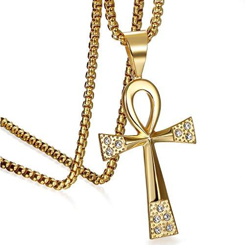 JewelryWe Schmuck Partneranhänger Partnerkette Edelstahl Strass Ägyptische Ankh Kreuz Amulett Anhänger mit 55cm Kette Halskette für Herren Gold