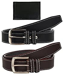 Sorella'z Brown & Black Belt Combo for Men's with Wallet