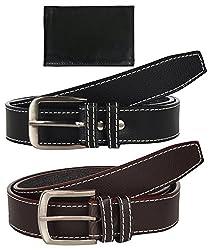 Sorella'z Brown & Black Belt Combo for Men's with Wallet
