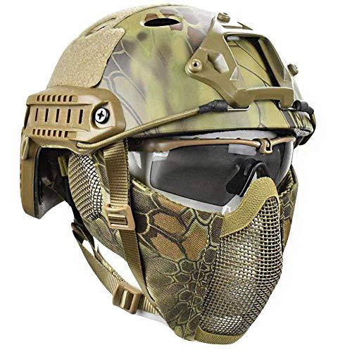 WLXW 3 Stück Set Von Schnellen Taktischen Helm und Halb Gesicht Schablone Maske und UV-Schutz-Brille Kombination Set, Dschungel Camouflage, Air Gun Paintball Jagd Schießen Schutzausrüstung,MA