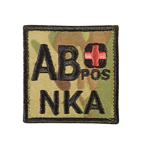 Image of Multicam AB POS AB+ NKA Blood Type Embroidered Touch Fastener Patch