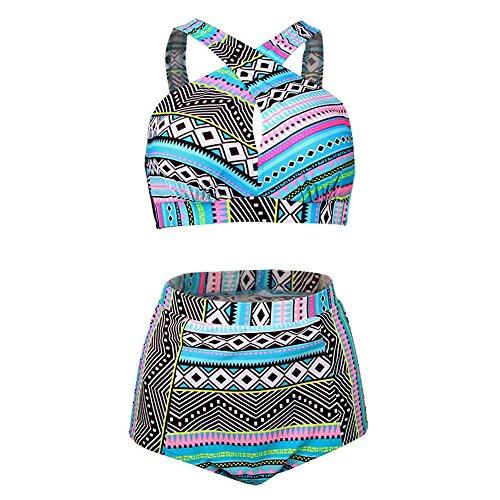Zweiteilige Tankinis Bademode Plus Size Bademode Hohe Taille Badeanzug High Neck Bikini Damen Mädchen Badeanzug Top Badeanzug weiblichen Badeanzug, A, XXL