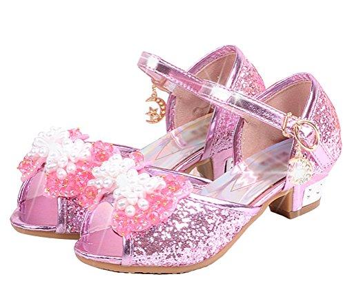 Brinny Prinzessin Schuhe mit Absatz Mädchen Kostüm Ballerina Schuhe - Schleife und Pailletten Karneval Festlich für Kinder Blau / Pink 12 Größe: 26-37 Pink