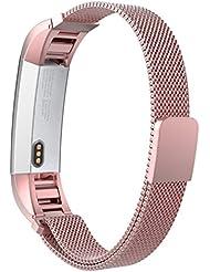 MoKo Fitbit Alta / Alta HR Correa - Reemplazo SmartWatch Band de Reloj de Acero Inoxidable Milanese Bucle Hebilla Magnético de Cierre Pulsera Accesorios para Fitbit Alta / Alta HR Smart Fitness Tracker, Rosa Antiguo