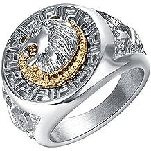 f2c4856646c Yoursfs Bague Tête de Lion Or Jaune palqué Acier Inoxydable Homme Idée  Cadeau Saint Valentin Anniversaire