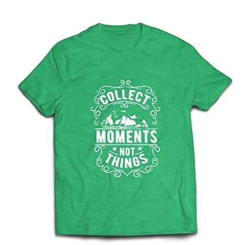 lepni.me Männer T-Shirt Inspirierende Reisezitate sammeln Momente und Nicht Dinge (Large Heidekrautgrün
