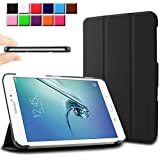 Infiland Samsung Galaxy Tab S2 9.7 / Tab S2 NOOK Case Cover - Ultra Slim Tri-fold PU Leather Case Cover for Samsung Galaxy Tab S2 Tablet (9.7 Wi-Fi SM-T810 / LTE SM-T815)/ Tab S2 NOOK (with Auto Wake / Sleep function)(Black)