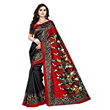 Jaanvi Fashion Women's Art Silk Kalamkari Printed Saree (Black)