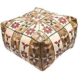 Puff de Cuero de Forma Cuadrada, Mide 42 x42 x Altura 28 cm Aproximadamente. Modelo Egipcio y marroquí Hecho a Mano (Beige y marrón nº 2)