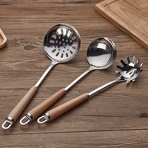 Berglander Acciaio inossidabile Manico in legno Set di utensili da cucina, Mestolo, Cucchiaio, Scrematrice, Frullino per uova, Giradadi, Server per pasta 6 pezzi. - 6