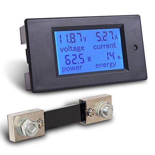 Mictuning multimetro digitale, DC 6.5-100V 0-100A LCD Amperage Power Meter DC Volt Amp testing Gauge Monitor LCD retroilluminazione blu display digitale con 100A/75mV Shunt esterno