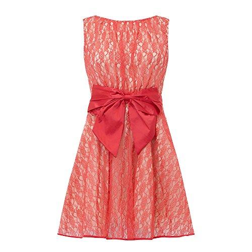 Little Mistress - Koralle Spitze Bogen Skater Kleid Koralle
