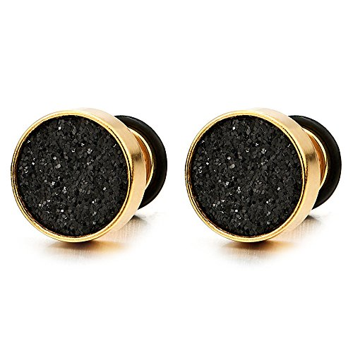 2 Gold Herren Damen Ohrringe Edelstahl Ohrstecker Fakeplugs Fake Plug Tunnel Ohr-Piercing,10MM