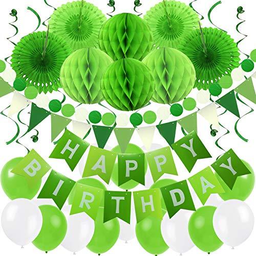Zerodeco Geburtstag Dekoration, Happy Birthday Banner Wabenbälle und Fächerdekoration Papier Girlande Fächer Dreieckige Wimpel Spiral Girlanden und Luftballon - Weiß, Grün und Hellgrün