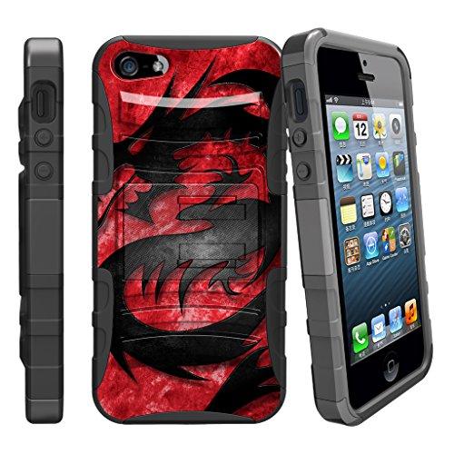 Fall für iPhone SE, 5S 5SE | iPhone 5/5S/SE Fall [Clip Armor] stoßfest Hybrid Schutzhülle w/Ständer + Bonus Holster Gürtelclip-Rot Schwarz Drachen, Red Dragon