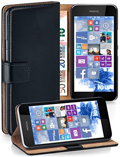 moex® Booklet mit Flip Funktion [360 Grad Voll-Schutz] für Nokia Lumia 530 | Geldfach und Kartenfach + Stand-Funktion und Magnet-Verschluss, Schwarz (Dual-sim Lumia530)