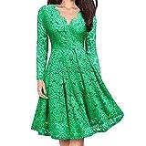 MRULIC Damen V-Ausschnitt Spitze Abendkleid Abendkleid Langarm Ballkleider Brautjungfernkleid Gastgeberin Kleid (Grün,EU-40/CN-XL)