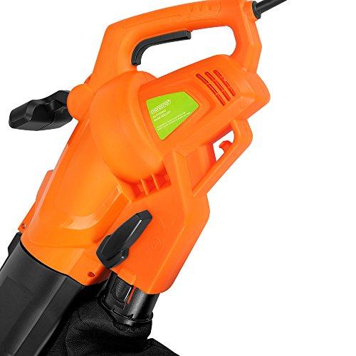 Monzana® Laubsauger 3 in 1 Elektro Laubbläser 3000W mit Schultergurt und Rollen Fangsack 45L Gebläse Häcksler Gartensauger Gartenbläser Blasgerät -